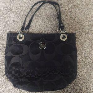 Black Coach Shoulder Bag with Blue Inside Lining